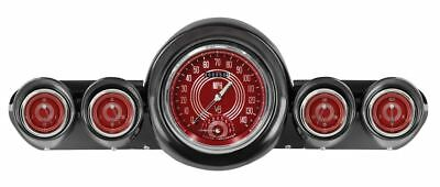 V8 Red Steelie 59-60 Chevy Gauges w/Speedtachular Classic Instruments CH59V8RS65