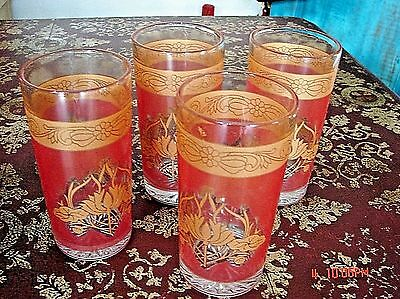 Vintage Mid Century Set Of Four Gold /salmon Pink Glass Juice Glasses