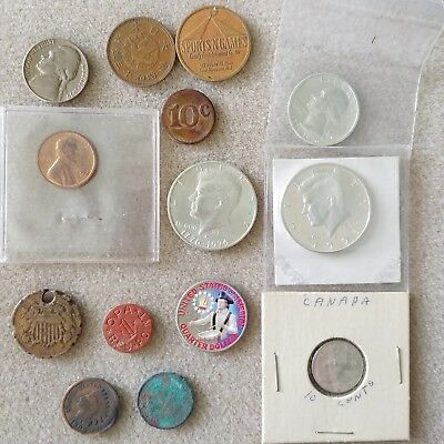 1864 Two Cent, PROOFS, Indian Head Pennys, OPA Red Point Ration Coin, Tokens