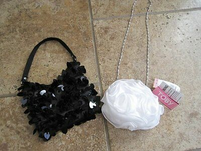 Child toddler girl purse lot black whtie fancy wedding Easter party
