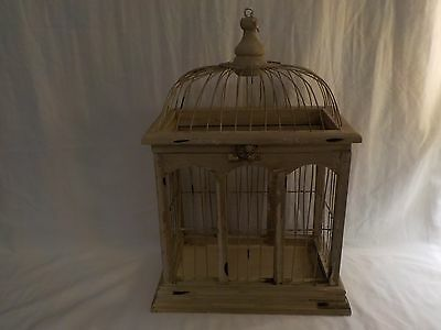 """Vintage Wood Wire Decorative Hand Painted Bird Cage 16"""""""