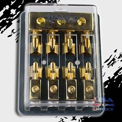 Maxi Fuse Gold Distribution Block Three 2/4 Ga In Four 8 Gauge Out 12V Marine Us