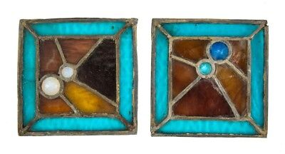 Leaded Art Glass Square-Shaped Salvaged Chicago Panels