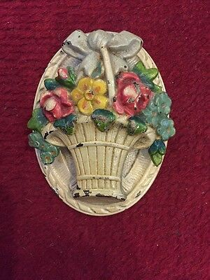 Antique Home Garden Hubley Cast Iron Rose Flower Orig Paint Door Knocker Bell 4""