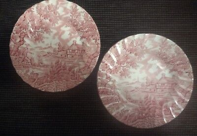 Pair of Vintage The Hunter by Myott Hand Engraved Staffordshire Ware Side Plates