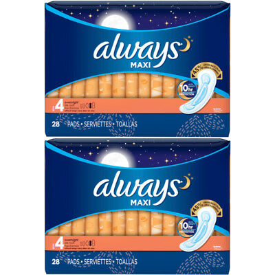 2 Pack Always Maxi Overnight Protection Pads Without Wings Size 4, 28 Count Each