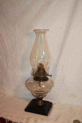 Vintage E. Miller Cast Iron & Ornate Brass Kerosene Lamp Vine & Rib Glass Font