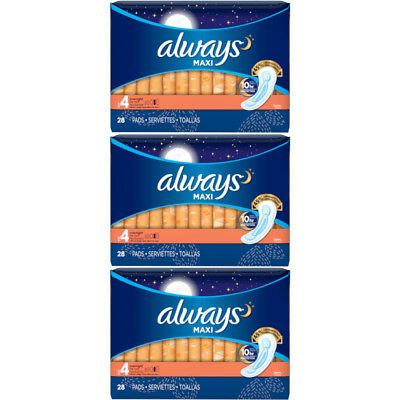 3 Pack Always Maxi Overnight Protection Pads Without Wings Size 4, 28 Count Each