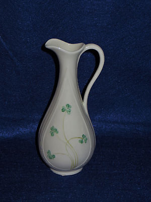 "Vintage ""shamrock"" Belleek 7"" Handled Vase Ewer  - Sixth Mark - Mint"