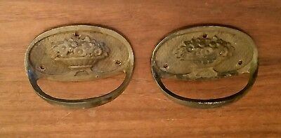 Pair of Antique Cast Brass Oval Farmhouse Stationary Handles Colonial Vintage