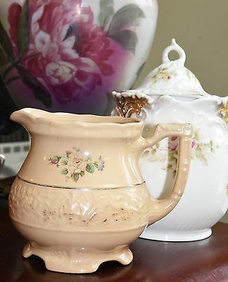 """Antique Pitcher Ironstone Victorian Roses Cream Raised Art Nouveau Footed 6"""" H"""