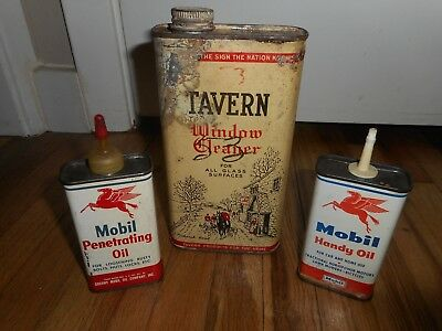 Vintage Lot of MOBIL Penetrating Handy Oil Pegasus TAVERN WINDOW CLEANER CANS