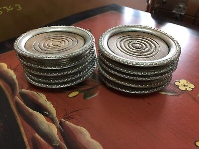 Vintage Sterling Silver And Wood Coasters - Set of 10
