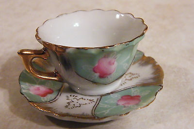VINTAGE miniature China Cup & Saucer JAPAN LABEL Scalloped Gold Rim PINK FLOWER