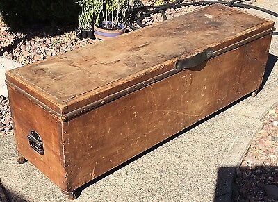 Antique Primitive Storage Chest Dovetail And Bail Handle Sides Wood Wheels