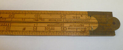 "Vintage Stanley No. 51 Boxwood and Brass Folding 24"" Ruler"