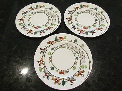 "Crown Saffordshire ""Hunting Scene"" Dinner Plate 10.5"" Fine Bone China England"