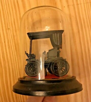 Model Of Old Car In Glass Dome Display Case