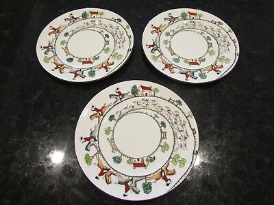 "Crown Staffordshire ""Hunting Scene"" 9"" Plate - Fine Bone China, England"