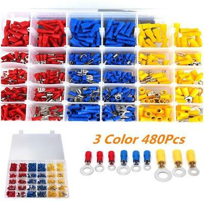 Electrical Wire Connector 480pcs Assorted Insulated Crimp Terminal Spade Set Kit
