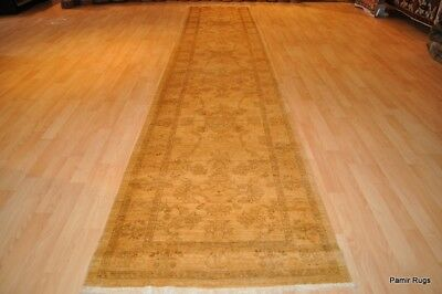TOP QUALITY  handmade 10 ft hall runner  oriental Tea washed out beige cream rug