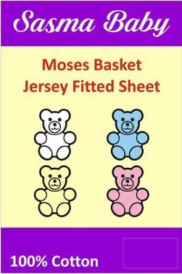 2 x Moses Basket / Crib 100% Cotton Soft Fitted Sheets