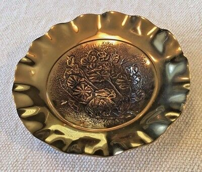 "Vintage Ornate Brass Bowl 7.75"" Across - Floral Pattern and Scalloped Edge"
