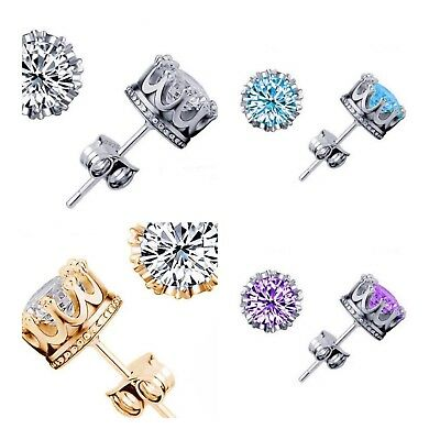 925 Sterling Silver Stud Crown Round Crystal Earrings 6mm CZ Cubic Zirconia