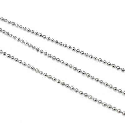 5m Stainless Steel 1.5mm Ball Chain w/ Connectors or Tips