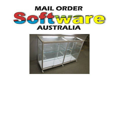 Glass Display Cabinet Counter Showcase W1500xH960xD455 Titanium Frame Brand New