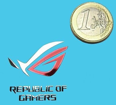 REPUBLIC OF GAMERS METALLIC CHROME EFFECT STICKER LOGO AUFKLEBER 30x30mm [820]