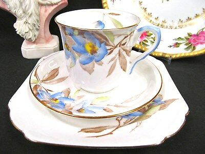 Shelley Tea Cup And Saucer Trio Pretty Blue Floral Pattern Painted Teacup