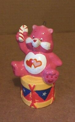 Vintage 1984 Care Bears LOVE A LOT on Drum w/CANDY CANE Christmas Ornament