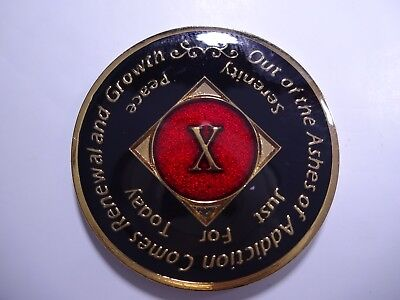 NA Black Red Coin 10 Year Tri-Plate Narcotics Anonymous Medallion +Capsule&Stand