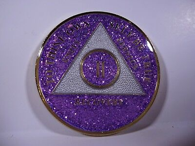 AA Purple Glitter 2 Year Coin Tri-Plate Alcoholics Anonymous Medallion +Display
