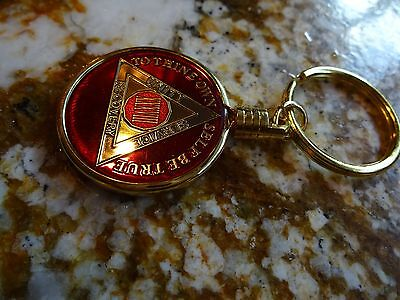 Gold Key ring Key chain Holder AA Alcoholics Anonymous Coin Medallion Tri-Plate