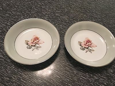 Two Halsey China Damask Rose Berry or Sauce Bowls