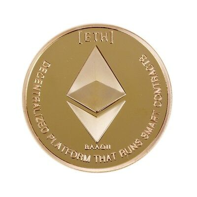 Gold Plated Commemorative Collectible Golden Iron ETH Ethereum Miner Coin GL