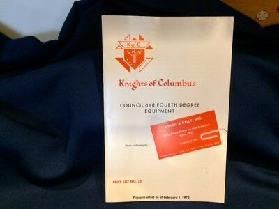 '72 Knights of Columbus Lynch & Kelly Price List #22 Council & 4th Degree Equipm
