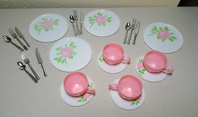 Vintage childs pretend play dishes LOT ~ pink floral~ ANDY GARD CORP