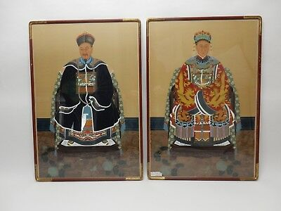 Gorgeous Large Pair of  Chinese Hand Colored Emperor/ Empress Portraits 38""