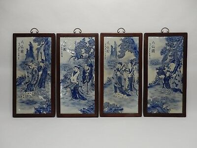 """Amazing Set of 4 Large Chinese Blue and White Porcelain Plaques of Immortals 34"""""""