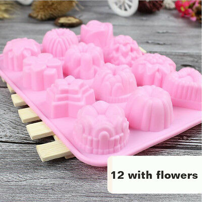 12 Flowers Silicone Mould Santa Snowman Jelly Baking Chocolate Ice Cube Tray UK