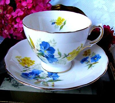 Queen Anne English Bone China Blue Morning Glory & Yellow Flower Teacup & Saucer