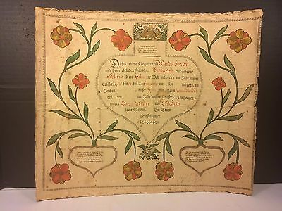 Antique 1798 Fraktur Baptismal Record Georg and Elizabeth Miller German Fraktur