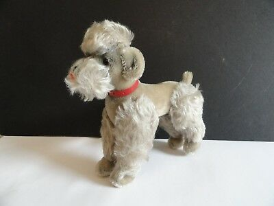 "Steiff gray poodle dog with red collar, button in ear, jointed, 8"" tall"