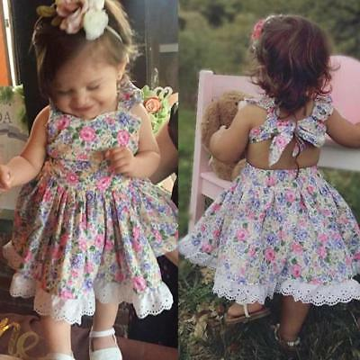 Toddler Kids Baby Girl Summer Clothes Floral Lace Party Pageant Princess Dresses