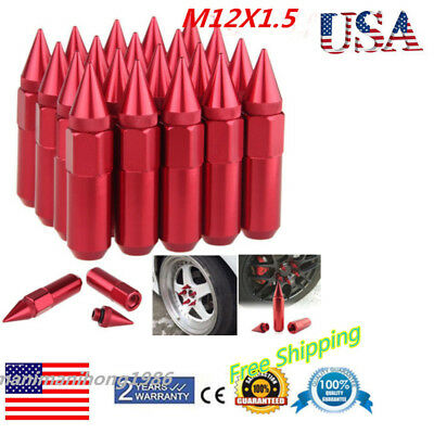 20pcs Spiked Aluminum Extended 60mm Tuner Wheels Rims Lugs Nuts M12X1.5 Red