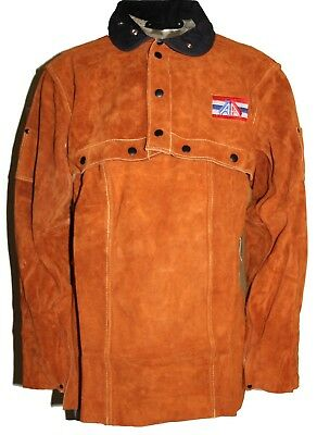 Unisex Brown FR Leather Welding Cape Sleeves and Bib, S to 4XL, W/ Welding Bib