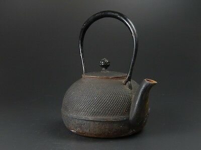 JAPANESE Antique NANBU TETSUBIN OLD IRON Tea Kettle teapot Chagama JAPAN a459